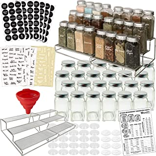 3-Tier Spice Racks and 24 Glass Spice Jar & 2 Types of Printed Spice Labels by Talented Kitchen. Complete Set: 2 Shelf Stainless Steel Racks, 24 Square Empty Glass Jars 4oz, Chalkboard & Clear Label