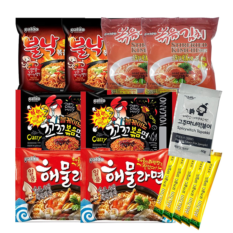 The Elixir K-Foods Korean Hit Noodle Ramen Variety Pack -HOT & FIERY- Volcano Chicken, Seafood, Hot Octopus, Seafood, Stir-fried Kimchi Ramen, Tteokbokki Sauce, Instant Coffee Mix Pack (Sete of 14)