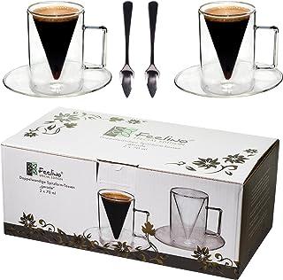 2x verres à double paroi de 70 ml et 2 cuillères, un design moderne pour votre espresso - design exclusif, cadeau exceptio...