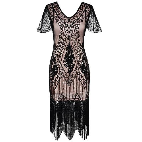 dd1ea9fa5a99d PrettyGuide Women s 1920s Dress Sequin Art Deco Flapper Dress with Sleeve