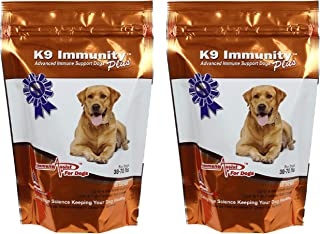 Aloha Medicinals - K9 Immunity Plus - Potent Immune Booster for Dogs 30-70 lbs - Certified Organic – Mushroom Enhanced Supplement - Veterinarian Recommended Dog Health Supplement - 60 Chews 2 Pack