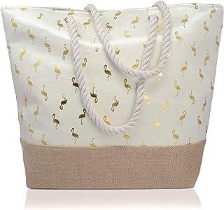 Piquaboo Groß Gold Segeltuch Flamingos Seil Tasche