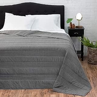 Welhome Landon Modern Reversible Oversize Quilt King Size - Heather Grey - 114