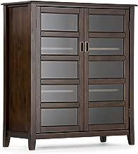 Simpli Home 3AXCBUR-004 Burlington Solid Wood 40 inch Wide Traditional Medium Storage Cabinet in Espresso Brown