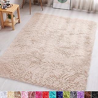 PAGISOFE Beige Fluffy Shag Area Rugs for Bedroom 5x7, Soft Fuzzy Shaggy Rugs for Living Room Carpet Nursery Floor Girls Dorm Room Rug