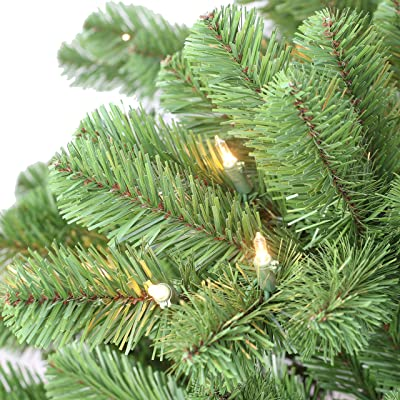 Puleo International 7.5' Pre Vermont Spruce Sure-Lit Pole and 550 UL-Listed Clear Incandescent Lights Artificial Christmas Tree, Green
