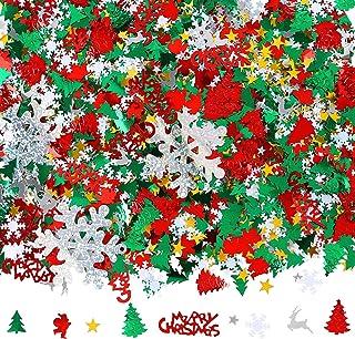 Aneco 100g/4800 Pieces Christmas Confetti Pentagram, Snowflake, Santa, Pine, Merry Christmas Alphabet, Elk Table Confetti ...