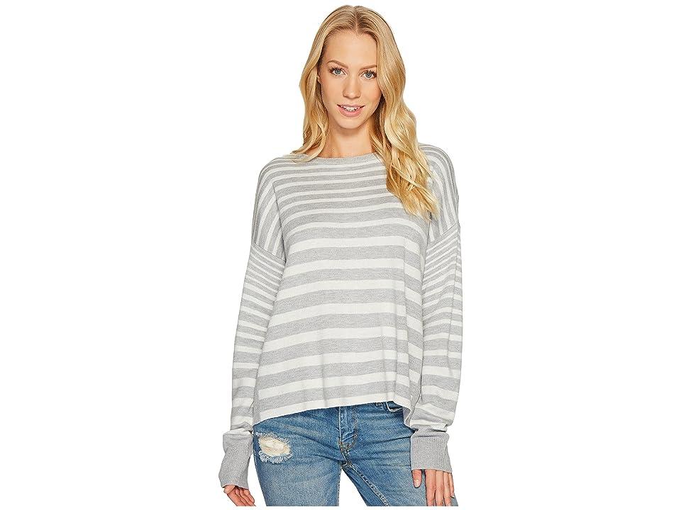 Splendid Cross-Back Sweater (Light Heather Grey/Natural) Women