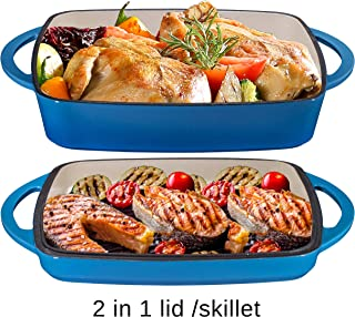 2 in 1 Enameled Cast Iron 11 Inch Square Casserole Baking Pan With Griddle Lid 2 in 1 Multi Baker Dish, Blue Whale