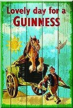 Nostalgic Cartel de madera con Lovely día para un diseño de Guinness de caballo y carro