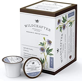 Wildcrafter Botanicals Organic Decaf Coffee K Cups - Stress & Anxiety Relief with Holy Basil Leaf, Chamomile & Passionflower Blend. 36 Calming Dark Roast Pods - Works with K-Cup Brewers & Keurig 2.0