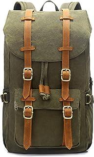EverVanz Damen Herren Rucksack Reise Wandern Outdoorrucksack Canvas Leder Daypacks für 15 Zoll Laptop Studenten Rucksack f...