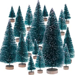 Leinuosen Mini Christmas Trees Artificial Sisal Trees Snow Frost Ornaments with Wooden Bases for Christmas Home Party Decoration (Size 1, 43 Pieces)