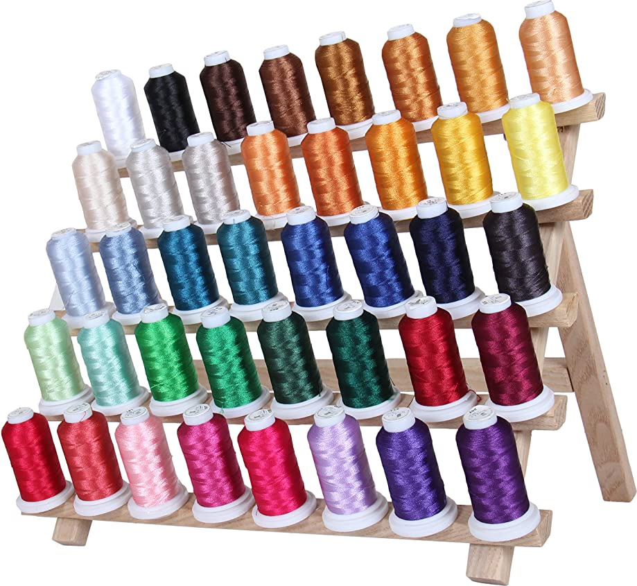 Threadart 40 Spool Polyester Embroidery Machine Thread Set Vibrant Colors | 500M Spools 40wt | For Brother Babylock Janome Singer Pfaff Husqvarna Bernina Machines - 4 Sets Available