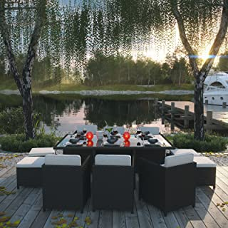Modway Reversal Outdoor Wicker Patio 11-Piece Dining Set in Espresso with White Cushions
