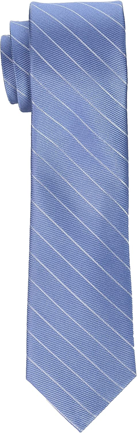 Calvin Klein Men's Striped Ties, Slate Blue, One Size at  Men's Clothing store