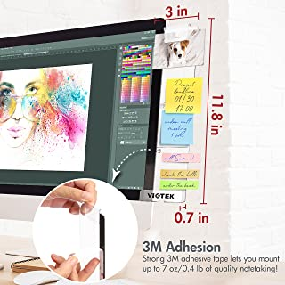 VIOTEK Acrylic Memo Board with 3M Adhesive (Left or Right) for Letter-Size Paper, Sticky Notes, Phones, and Business Cards – Charging Cable Hole and Clip Included