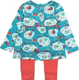 Tenue 2 pièces pour fille en jersey bio doux motif étang bleu aqua jusqu'à 3 ans