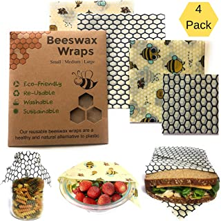 Bee You Bees Wax Food Wrap| Pack of 2 Large, 1 Medium, 1 Small Beeswax Wraps| Eco Friendly Reusable Wraps| Sustainable& Washable| 100% Organic Cotton| Biodegradable| Alternative to Plastic