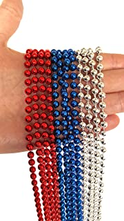 Playscene' Patriotic Beaded Necklaces for Adults and Kids, Red White & Blue Beaded Necklaces (Party Packs!) (2 Dozen)