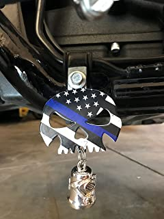 Kustom Cycle Parts Universal Thin Blue Line Skull Bell Hanger - Bolt and Ring Included (Bell Not Included). Fits all Harley Davidson Motorcycles & More! Proudly MADE IN THE USA!