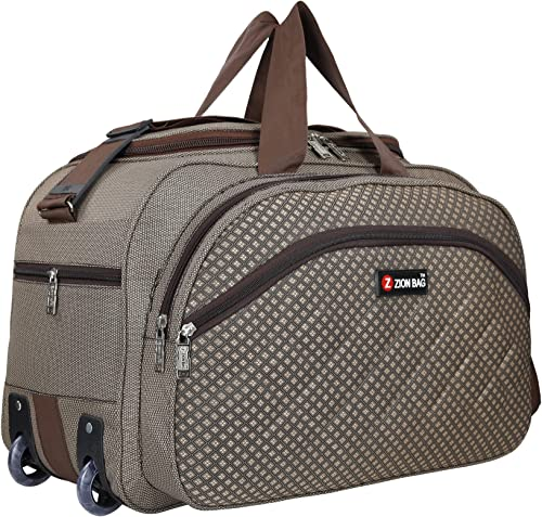 Polyester 40 L Brown Waterproof Lightweight Luggage Travel Duffel Bag With 2 Wheels