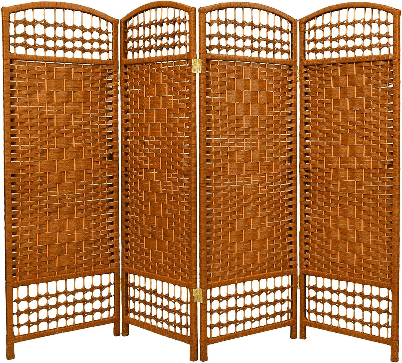 Oriental Furniture Recommendation 4 ft. Tall Fiber Dark Be - Weave Weekly update Room Divider