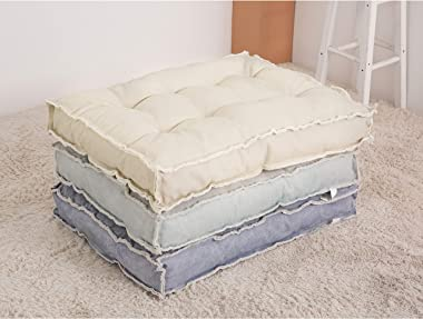 U-A Floor Cushions Sitting Pillow, Thick Meditation Pillow for Sitting on Floor,Solid Square Floor Pillow for Kids Reading No