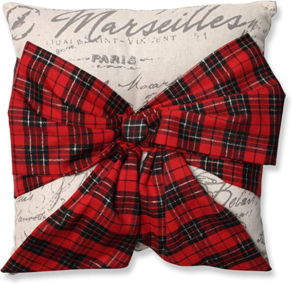 Pillow Perfect Holiday Plaid Bowknot Throw Pillow 16 5 X 16 5 Red Natural Black