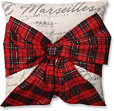 Pillow Perfect Holiday Plaid Bowknot Throw Pillow, 16.5 x 16.5, Red/Natural/Black