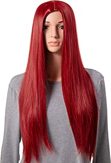 Onedor 31 Inches Long Straight Red Synthetic Hair Women Full Head Cosplay Wig with Wig Cap (T557 - Red)