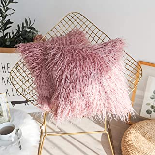 Kevin Textile Pack of 2, Classic Fashion Warm Merino Style Fur Throw Pillow Cover Cushion Case with Hidden Zipper for Sofa, 20