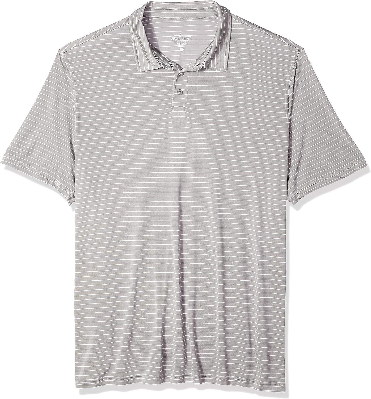 Charles River Apparel Men's Wellesley Polo Shirt, Grey/White Stripe, 3XL