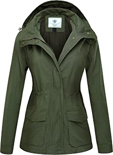 Women's Casual Military Hooded Anoraks Jacket with Drawstring