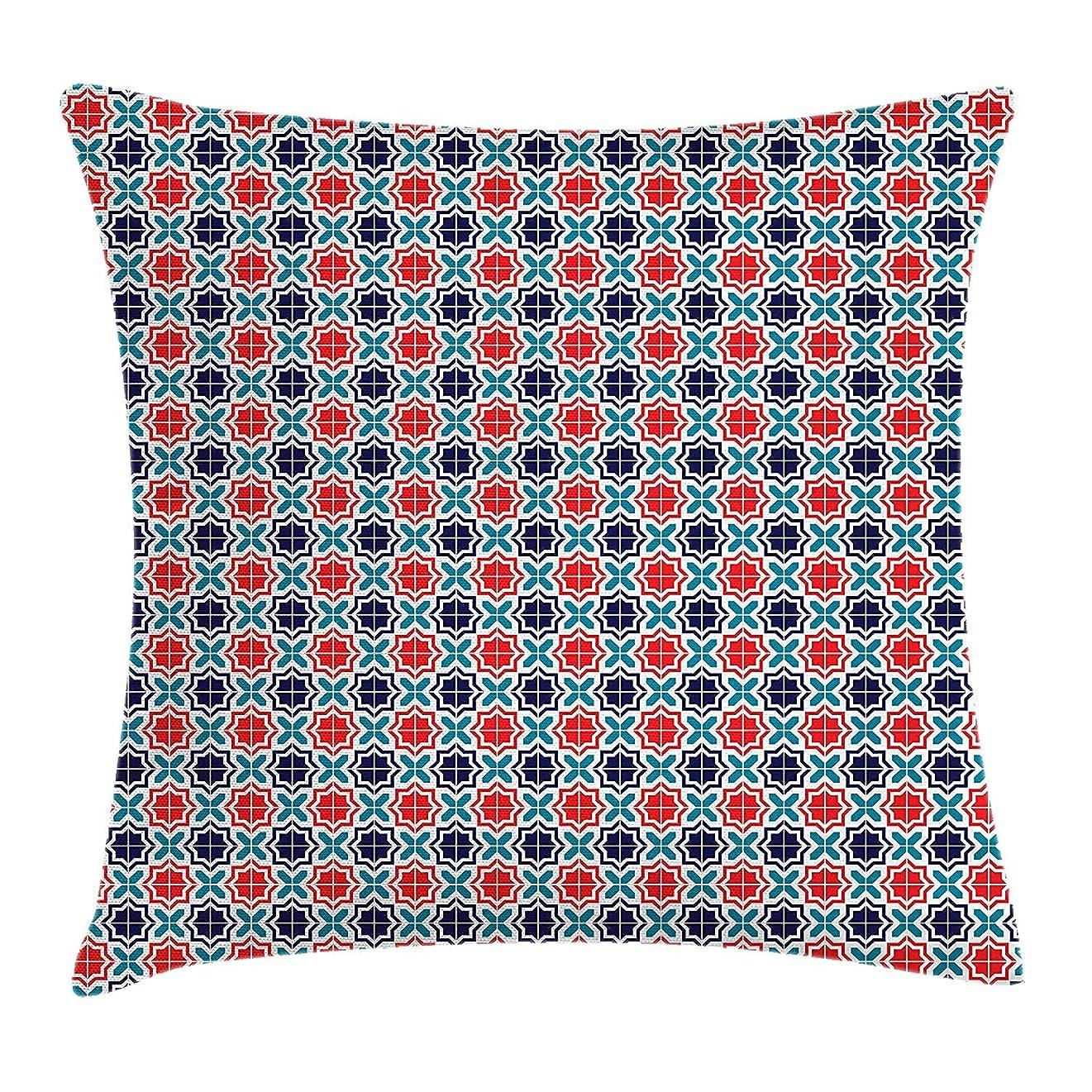 メディック連隊会社Moroccan Throw Pillow Cushion Cover, Vibrant Geometric Mosaic of Ancient Arabian Tiles with Star Motifs, Decorative Square Accent Pillow Case, 18 X 18 inches, Scarlet Teal and Navy Blue