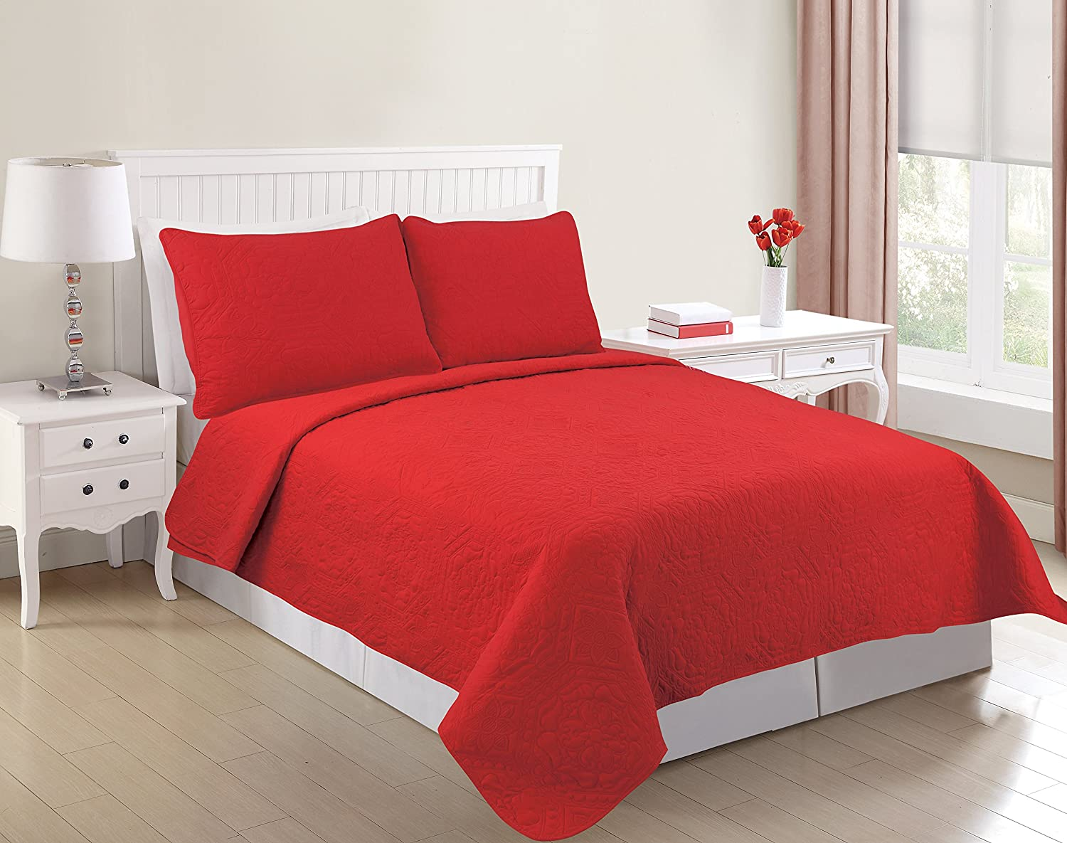 All American Collection New 3 Piece Solid Embroidered Bedspread  Coverlet with Hexagon Design