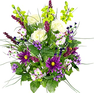 Artificial Dahlia, Morning Glory and Ranunculus and Blossom Fillers Mixed Bush - 30 Stems for Home, Wedding, Restaurant and Office Decoration Arrangement, Violet/Cream/Kiwi