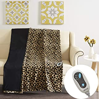 Beautyrest Brushed Long Fur Electric Throw Blanket Ogee Pattern Warm and Soft Heated Wrap with Auto Shutoff, 50x60, Leopard