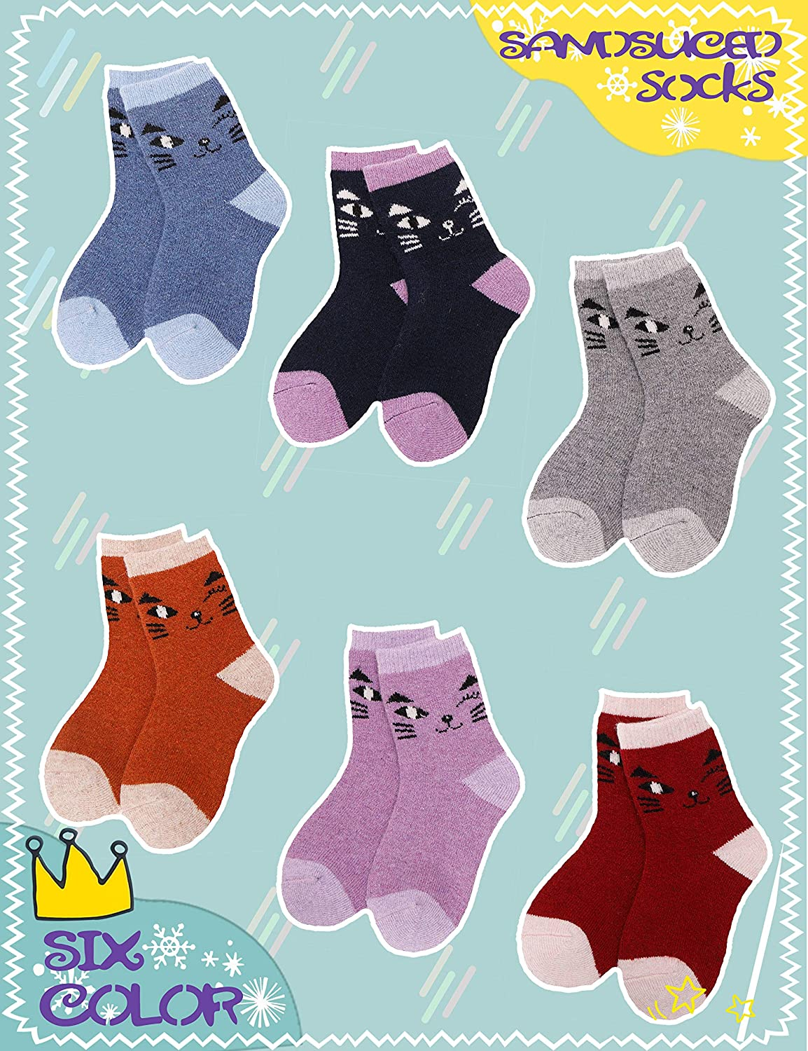Boys Girls Wool Socks Warm Thick Thermal Cotton Winter Crew Socks For Child Kid Toddlers 6 Pack