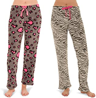 Totally Pink Women's Warm and Cozy Plush Pajama Bottoms/Lounge Pants Two Pack