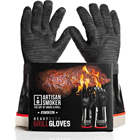 Artisan Smoker Heat Resistant Gloves for Grill,Easy to Clean BBQ Gloves for Smoker,Waterproof,Oil Resistant Fireproof Gloves for Barbecue Grill,Cooking Gloves for Grilling and Smoking 17 Inches