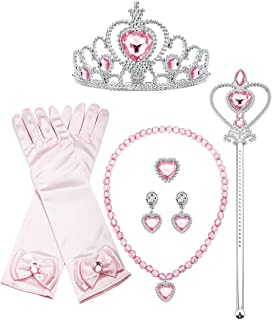 Aurora Dress Up Princess Cosplay Set Girls Costume Party Favor Jewelry Set Gloves Crown Wand Necklace Earrings Ring Kids Little Girls (B: Pink Set)