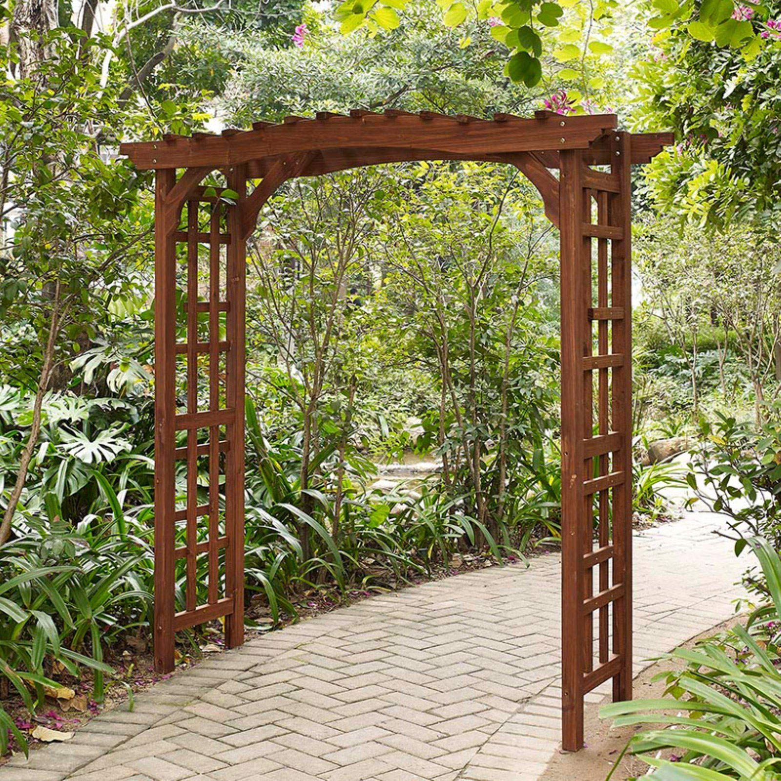 Palos - Árbol de Madera para jardín con Acabado de Canela, Estilo Artesano con pérgola: Amazon.es: Jardín