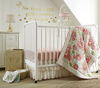 Levtex Baby Charlotte Coral and Cream Floral 5 Piece Crib Bedding Set, Quilt, 100% Cotton Crib Fitted Sheets x 2, 2-Tiered Dust Ruffle, and Large Wall Decals