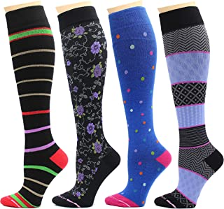 4 Pairs Dr. Motion Therapeutic Graduated Compression Women's Knee-hi Socks.