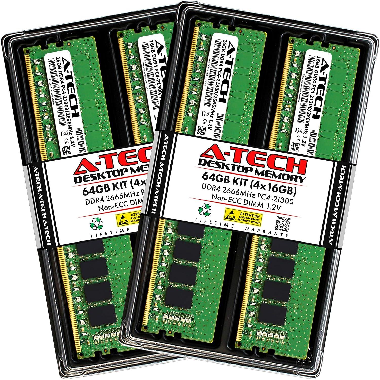 A-Tech 64GB 4x16GB DDR4 2666MHz Non-ECC PC4-21300 DIMM UDIMM Popular overseas C Austin Mall