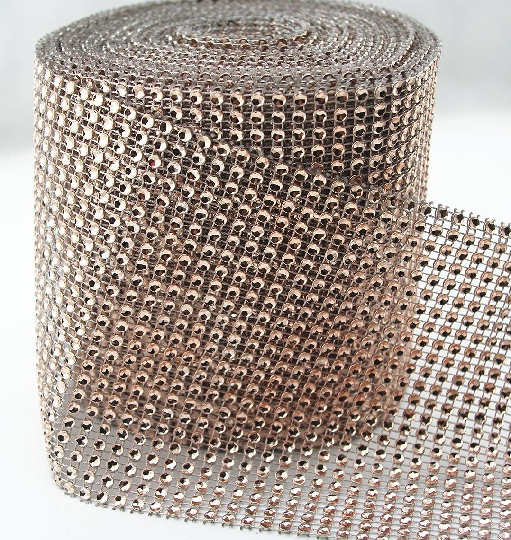 AEAOA Diamond Rhinestone Ribbon Wrap Bulk 30 Feet Wedding Decorations Party Supplies (Champagne)