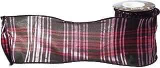 شريط بحواف سلكية من Offray Rowan مقاس 10.16 سم × 5 ياردات، وردي وأسود