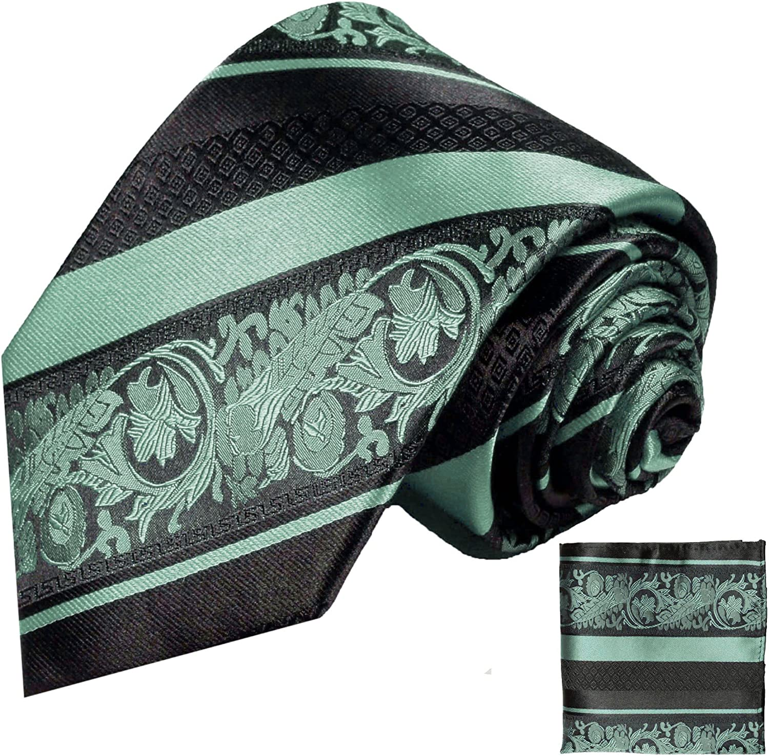Mint and Black Paul Malone Silk Tie and Pocket Square