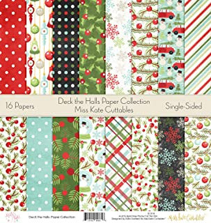 Die Cuts & Paper Set - Deck The Halls - Christmas - by Miss Kate Cuttables - 16 Sheets of 12